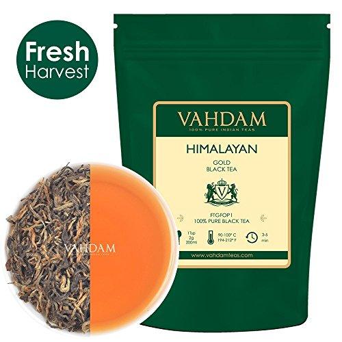 VAHDAM, Himalaya-Gold-Schwarztee (50 Tassen) | 100% reine Schwarzteeblätter mit GOLDENEN TIPPS | ROBUST, RICH & FLAVORY Loser Tee | Schwarzer Tee Loose Leaf | 100gr