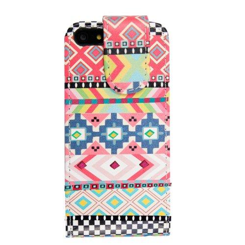 Flip Case für iPhone 5 und iPhone 5s aus PU-Leder, verschiedene Motive, gratis Eingabestift Aztec Dark Tribal Retro Vintage