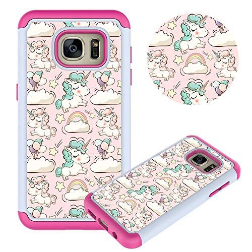 Hülle für Samsung Galaxy S7,Rosa Pony Muster Weich Silikon TPU + Hart PC Hybrid Double Beidseitiger Stoßfest Handyhülle Kratzfest Rüstung Schutzhülle