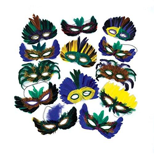 Fun Express Feather Mardi Gras Masken Kostüm Party Masquerade Multi (Masken Mardi Feather Gras)
