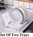 #7: Woogor Folding Plastic Kitchen Dish Rack Stand Plate Holder 2 Piece Random Colors