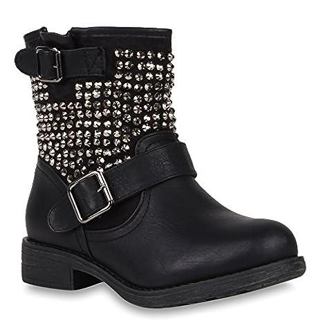 Damen Stiefeletten Stiefel Biker Boots Nieten Warm Gefüttert Schuhe 47665 Schwarz Autol 39 | Flandell®