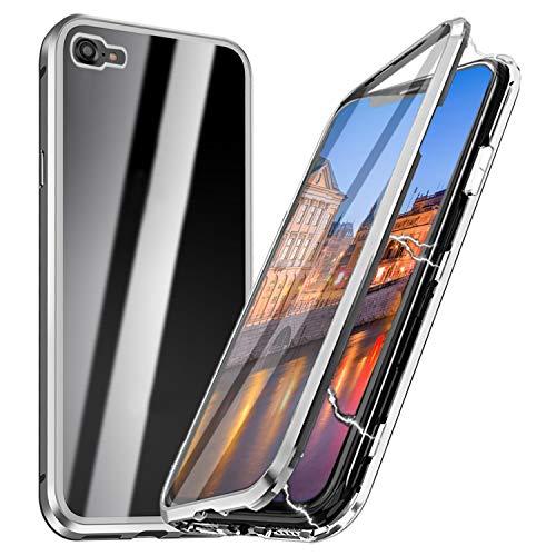 iPhone 8 Magnetische Hülle mit Panzerglas, Qianyou iPhone 7/8 Magnetische Adsorption Glas Handyhülle mit Rahmen Panzerglas Rückseite Vorne und Hinten 360 Grad Schutzhülle Bumper Case 4,7''-Silber -