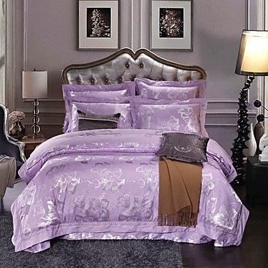DuZiShi-sjt Schnee, blaue Seide Luxus Baumwolle Mischung Bettbezug set Queen