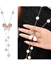 Total Fashion Silver Metal Butter Fly Design White Beads Long Chain Necklace For Girls & Women