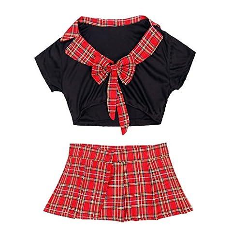 YiZYiF Femmes Lingerie Uniforme écolière Chemise & Mini jupe écossaise Costume Cosplay Rouge & noir Taille unique