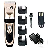 Professional Hair Cutting Kit Rechargeable Hair Clipper and Trimmer 7 Attechments Haircut Tools for Family Using, Golden