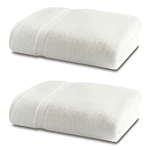 Bamboo Bath Linen - Luxury Double Pack - 2 x Bamboo Bath Towels 600gsm - Natural White