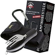OUTDOOR FREAKZ Cubiertos para cámping plegable - Vajilla de exteriores de acero inoxidable con bolsa de neopreno (black +)