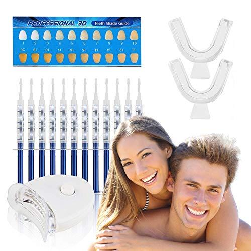 FAMINESS Zahnaufhellung Set | Zähne Bleichen Bleaching Set | 12x Teeth Whitening Gel für Weiße Zähne Zahnpflege | Home Zahnbleaching Kit gegen Gelbe & Graue Zähne | inkl. LED Licht und 2 Mundschiene -