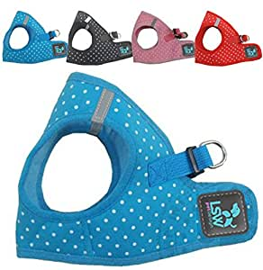 No Pull Small Dog - Pet Harness - Breathable Step In Dotty Spotty Harness Blue Extra Small (LSW Pet Design)