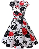 bbonlinedress Frauen Kurz 50er Jahre Retro Vintage Cocktail Party Swing Kleider - Red Flower, size: X-Groß/ XL