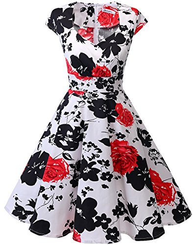 Vintage Retro Cocktailkleid Rockabilly V-Ausschnitt Faltenrock Red Flower XS (1960 Kleid)