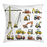Construction Throw Pillow Cushion Cover, Cartoon Heavy Equipment and Machinery Industry Building Transportation, Decorat