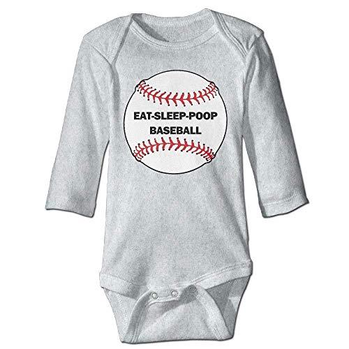 MUAIKEJI Eat Sleep Poop Baseball Newborn Babys Long Sleeve Romper Bodysuit Outfits Baseball Infant Bodysuit