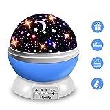 Moredig Nachtlicht Sternenhimmel Projektor, Baby Licht 360° Rotation LED Sternenlicht Lampe Sternhimmelprojektor mit 8 Farbige Lichter Projektion, Perfekte Geschenk für Babys & Kinder - Blau