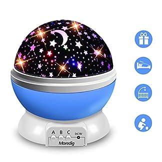 Moredig 360 grados rotación proyector lámpara estrellas, romántica luz de la noche y 8 modos, regalo para niños y bebés cumpleaños, día de los Reyes, Navidad, Halloween etc – Morado