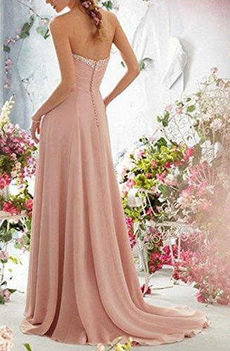 CoCogirls A-Linie Lang Chiffon Perlen Herz-Ausschnitt Abendkleid Ballkleid Brautjungfernkleid Blush