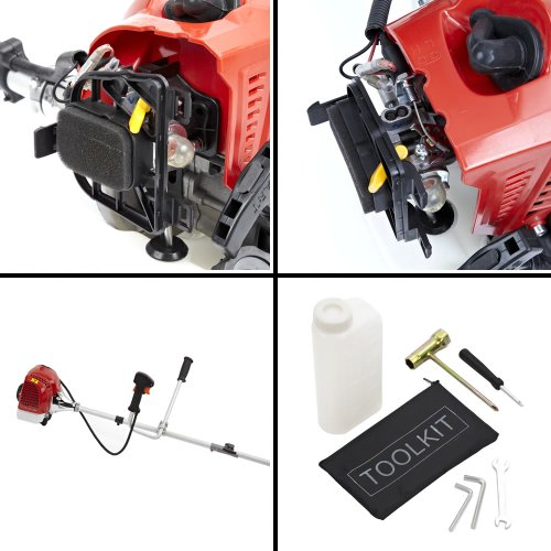 Trueshopping® 62cc Petrol Strimmer Brush Cutter Pro Garden Tool Grass Powerful Heavy Duty Model 2-Stroke 2.6KW 3.5HP Free Ergonomic Harness Comfortable Usage