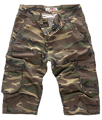 Army Jeans (Lorenzo Loren Herren Short Jeans Shorts Camouflage Shorts Bermuda Hose Sommer Army Short Kurze Hose Sommershorts Dunkelgrün LL-391 W32)