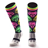 Samson Hosiery ® DJ SKULL Print Funky Novelty Fashion Gift Socks Football Rugby Sports And Casual Knee High Socks For Men Women Kids Unisex