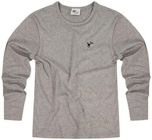 echo3Uomo Ragazzo Cotone Skinny Fit Stretch a maniche lunghe Casual maglietta–�?colori–S a XXL, Sports Grey