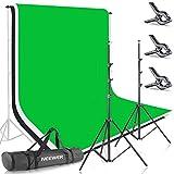 Neewer Estudio Fotográfico 2,6 x 3 Metros Sistema de Soporte para Fondo 1,8 x 2,8 Metros Telón de Fondo de Tela (Blanco, Negro, Verde) para Retrato Producto Video