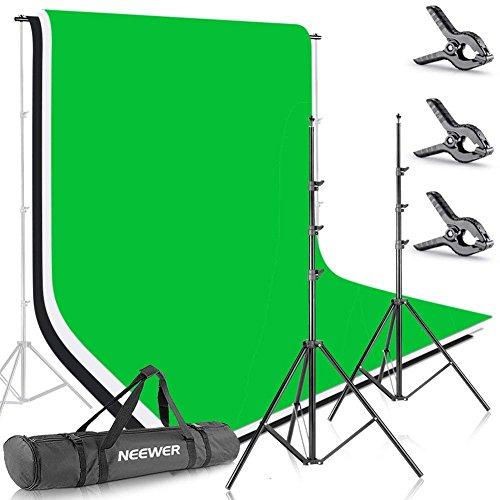,5 X 10 Fuß / 2,6 X 3 Meter Hintergrund Stativ Unterstützungssystem mit 6 X 9 Fuß / 1,8 X 2,8 Meter Stoff Kulisse (Weiß, Schwarz, Grün) für Porträt Produkt Video Aufnahmen ()