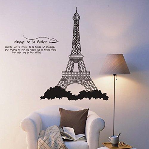 Parigi Torre Eiffel parete in pvc adesivo rimovibile in salone camera da letto Cucina Art Picture Murals Sticks finestra porta decorazione + 3d rana regalo adesivo per
