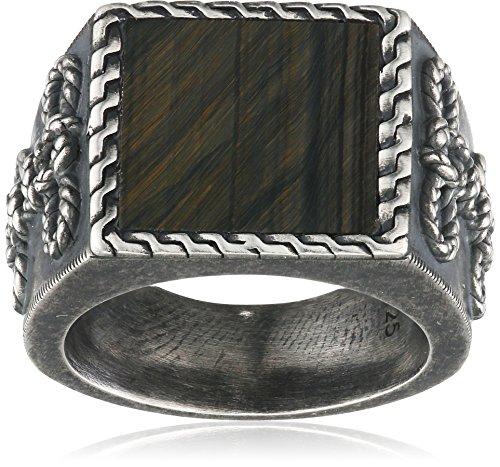 caï Herren-Ring 925 Silber vintage-oxidized Tigerauge blau Gr. 64 (20.4) (Gold Ringe Herren 14kt)