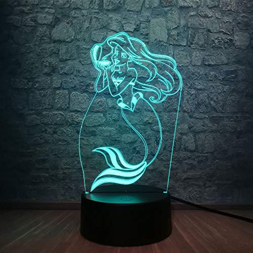 Märchen Meerjungfrau 3D LED Lampe 7 Farbwechsel Schöne Mädchen Raumdekor Tisch Nachtlicht Weihnachtsgeschenk, Touch