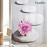 FEELIN - Duschvorhang 180x200 cm mit antibakterieller und wasserabweisendem Lotuseffekt. Inklusive zwei Massage Tuffs - Duschschwamm zum Aufschäumen, Peeling, Massage