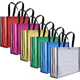 6 Pieces Multicolor Non-woven Shopping Bag Large Reusable Grocery Gift Bag Shiny Christmas Waterproof Tote Bags for Birthday Party Travel Christmas Favor, 15.6 x 13.4 x 4.1 Inch