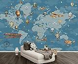 WH-PORP 3D Tapete Kundenspezifisches Hintergrund-Flugzeug-blaue Weltkarte-Wohnzimmer-3D Hintergrund-Wand 3D-350cmX245cm
