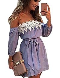 Vestido Para Mujer,BBestseller Mujeres sin mangas vestido de encaje del hombro Mini vestido de