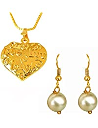 Surat Diamonds Love Live Laugh Inscribed Gold Plated Heart Pendant And Shell Pearl Earring Set For Women With...