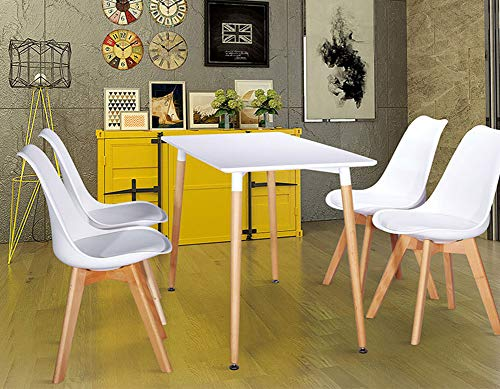 6625d787c168d WAFTING Set of 4 Dining Chair upholstered Side Chair with Beech Wood Legs  and Soft Padded Shell Tulip Chair for Dining Room Living Room Bedroom ...