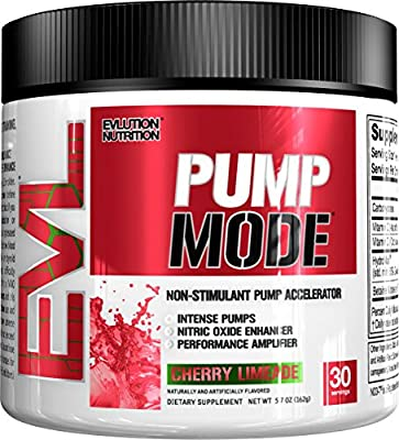 Evlution Nutrition Pump Mode Nitric Oxide Booster to Support Intense Pumps, Performance and Vascularity, 30 Serving (Cherry Limeade) by Evlution