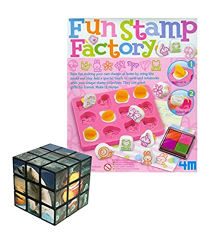 Number 1 Selling Make Your Own Fun Stamp Making Kit - Arts & Crafts & Problem Solving Set - FREE 3D Sealife Puzzle/Cube - Great Gift Present Idea for Christmas Xmas Stocking Filler Birthdays or Ideal Reward Treat or Pocket Money Toys & Games Age 5+ Girl Girls Kids Children