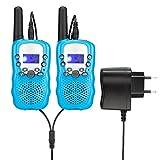 Fetoo Walkie Talkie für Kinder PMR446 mit Akku, Ladekabel 0,5W 8 Kanäle VOX Taschenlampe Funkgeräte (2er-Set, Blau)