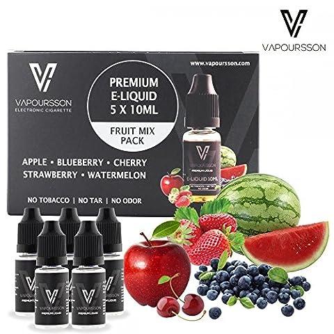 VAPOURSSON 5 X 10ml E Liquid gemischte Früchte, 0mg (Ohne Nikotin) Apfel | Blaubeere | Kirsche | Erdbeere | Wassermelone | Neue Formel für einen extra starken Geschmack mit hochwertigen Zutaten | Hergestellt für elektronische Zigaretten und E Shisha