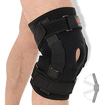 c72bea99d4 Gallant Hinged Knee Support - Dual Stabilized Hinges with Open Patella  Design Helps Injured Arthritis Knee, Strain, Sprains, Instability  Pains/Adjustable ...
