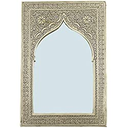 Casa Moro Espejo de Pared marroquí Hecho a Mano Assiya Plata 25,5 x 17 cm Rectangular artesanía de Marrakech Espejo de latón para Hermosa decoración & Idea de Regalo