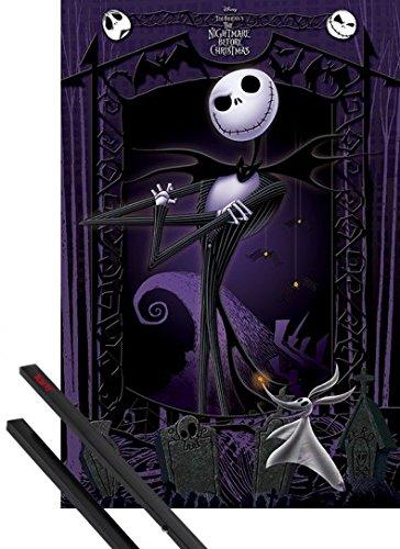 1art1 Poster + Hanger: The Nightmare Before Christmas Poster (91x61 cm) It\'s Jack Inklusive EIN Paar Posterleisten, Schwarz