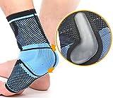 oxoxo med Fußbandage mit beidseitigen Silikon-Massagekissen zur muskulären Stabilisierung des Sprunggelenks – Kompression und ergonomische Passform [M]