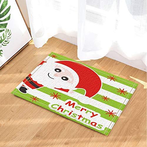fdswdfg221 Cute Santa Claus on Green Striped for Christmas Decor Bath Rugs Non-Slip Doormat Floor Entryways Indoor Front Door Mat Kids Bath Mat Bathroom