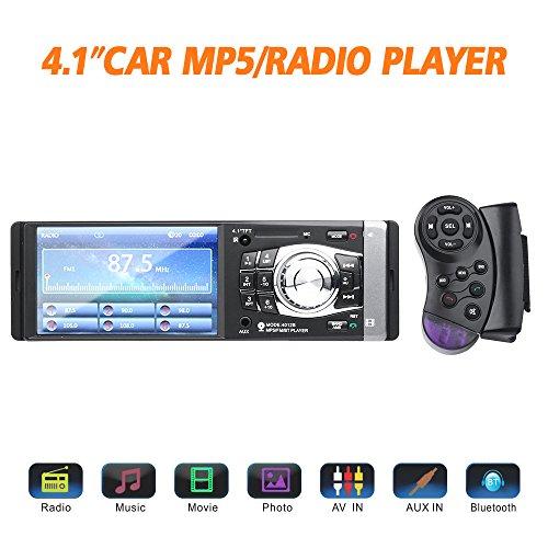Masione Auto Radio Stereo mit Bluetooth Video und Radio in Dash mit 4,1 Zoll HD TFT Bildschirm FM Single DIN MP3 MP5 Player USB AUX Freisprechen 12 V, unterstützung für Rückfahrkamera (Hd-radio-bluetooth-auto Stereo)