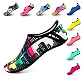 IceUnicorn Water Socks Mens Womens Outdoor Swim Barefoot Skin Shoes for Beach Running Snorkeling Surfing Diving Yoga Exercise(Building,38/39EU)
