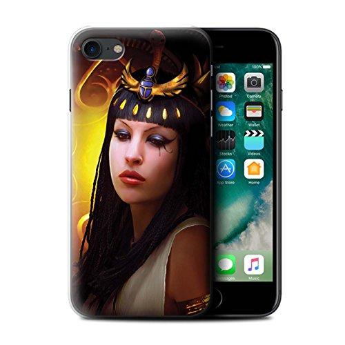 Officiel Elena Dudina Coque / Etui pour Apple iPhone 7 / Face à Face/Tigre Design / Les Animaux Collection Cleopatra/Serpent Doré