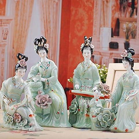 SU@DA Klassisch schöne Poesie und Skulptur Keramik Porzellan dekorative Kunst und Kunsthandwerk Ornamente , 12 inch green